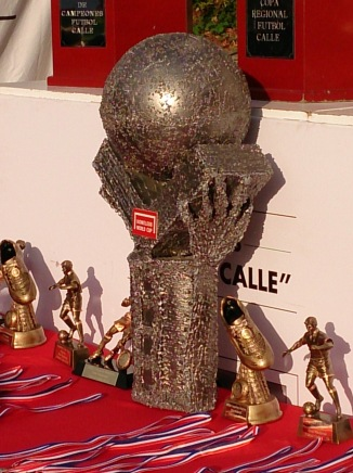 The men's Homeless World Cup trophy